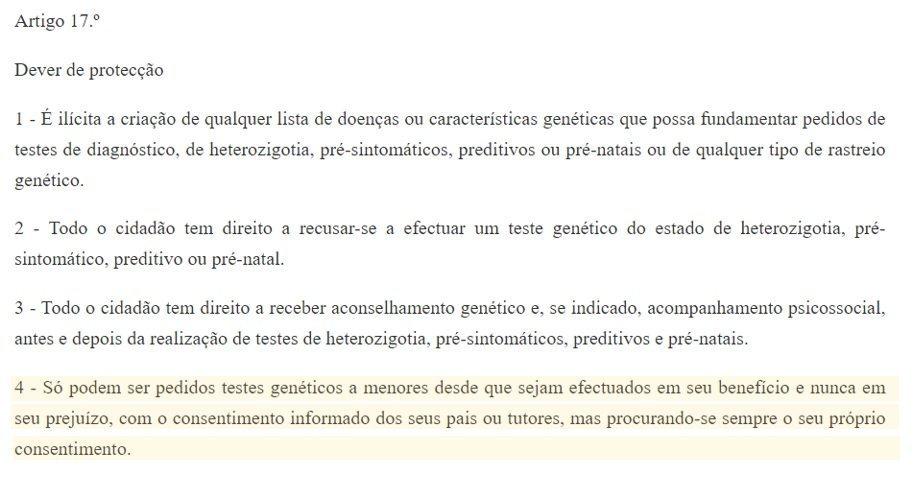 legislação teste de paternidade artigo 17 em Portugal