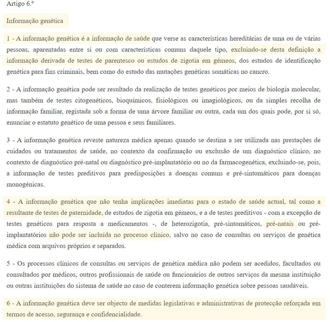 legislação portugal testes de adn artigo 6