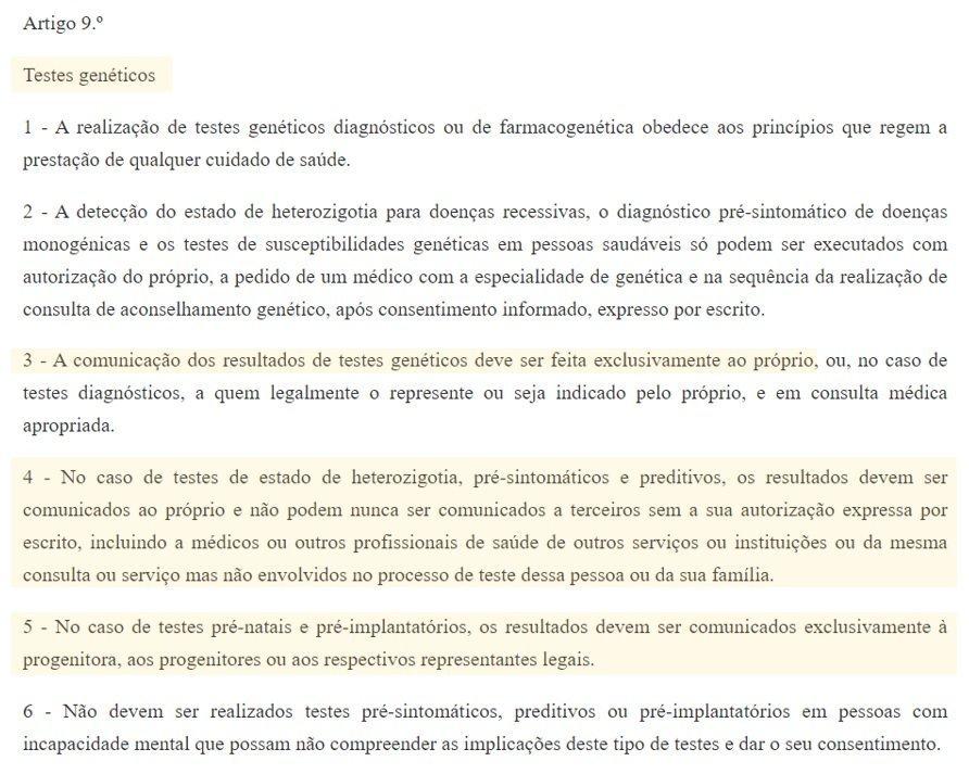 comunicação dos resultados do teste de paternidade legislação em portugal